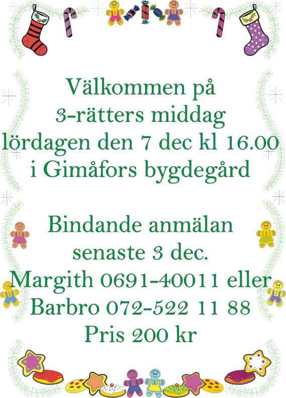 Gimåfors үш-курс Рождество кешкі.