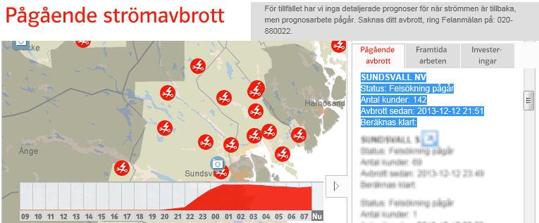 Stromausfallkarte von E.ON..