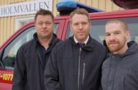 Thomas Åslin and Erik Hedlund from Medelpads Rescue Association and Niklas Wikholm, voluntary project reinforced neighbor. (Photo: Swedens radio, Urban Björstadius)